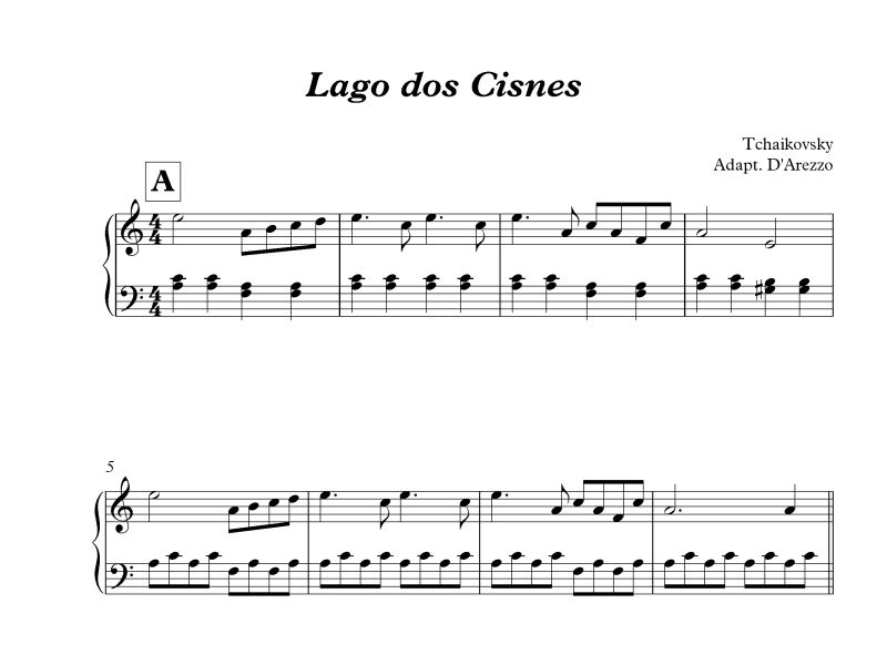 Lago Do Cisne Para Piano Iniciante D Arezzo